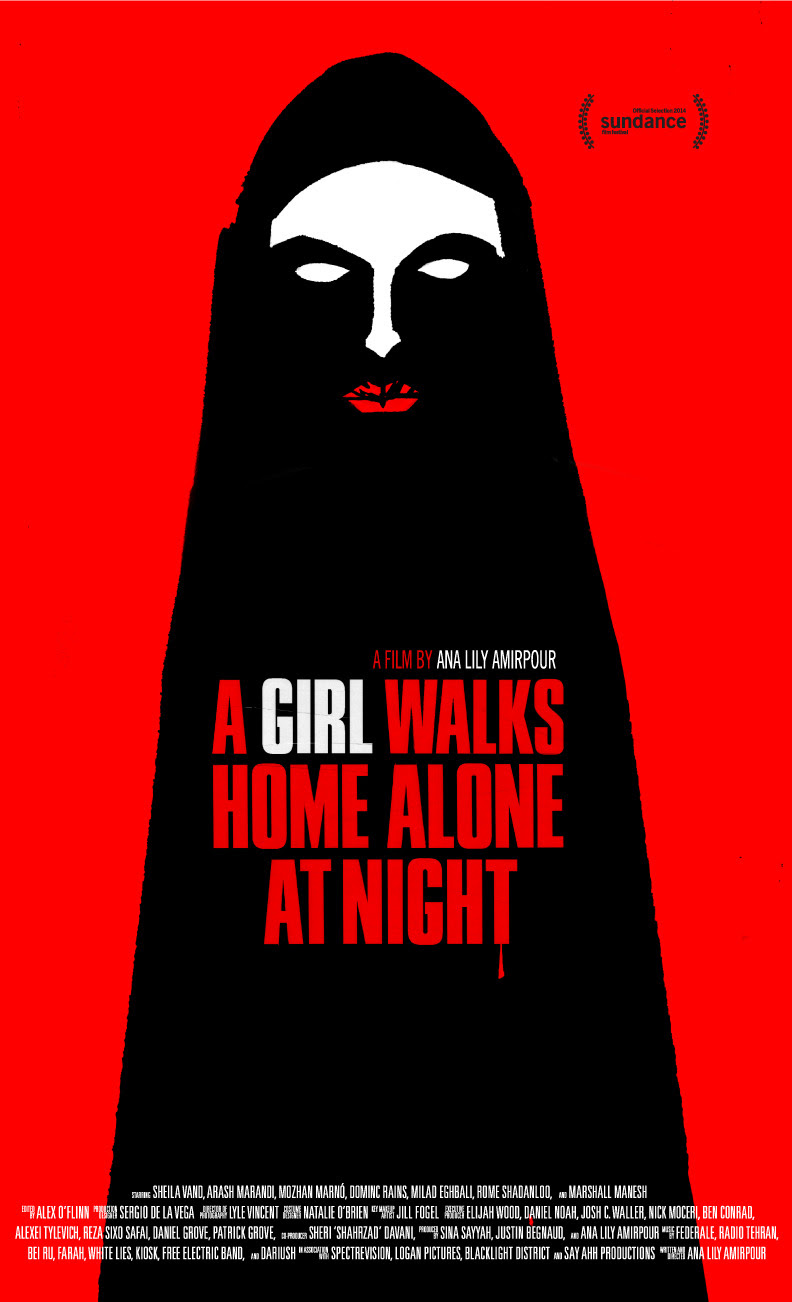 Poster for Ana Lily Amirpour's A Girl Walks Home Alone at Night, described as a vampire spaghetti Western set in an Iranian ghost town called Bad City.