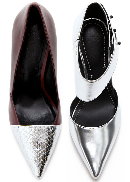 ELIZABETH AND JAMES METALLIC HEELS SASH SNAKE EMBOSSED SILVER CAP TO RED BURGUNDY D ORSAY PUMP ALL SILVER SAND PUMP WIDE ANKLE STRAP POINTED TOE FASHION STYLE BLOG