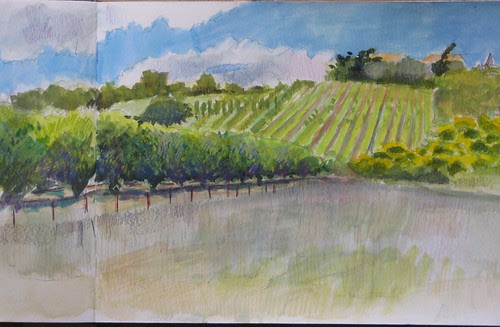 Morning painting in gouache; afternoon tweaks in coloured pencil by makingamark2