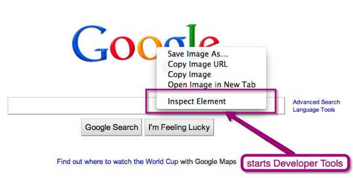 Google chrome developer options