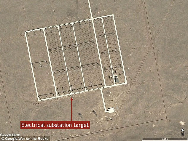 A possible electrical substation target is seen in a satellite image from July 2013. There are no electrical lines, however, running to or from the target