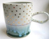 MADE TO ORDER Gold Polka Dot Porcelain Mug - SilverLiningCeramics
