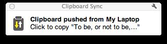 Clipboard Sync notification