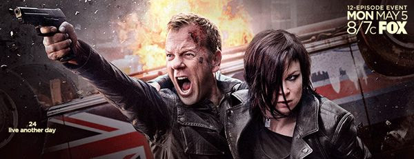 Jack Bauer (Kiefer Sutherland) and Chloe O'Brian (Mary Lynn Rajskub) are back to fight terrorists in 24: LIVE ANOTHER DAY.