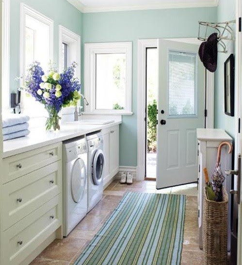 Blue and white color laundy room