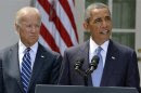 U.S. President Obama speaks about Syria next to Vice President Biden at the Rose Garden of the White House