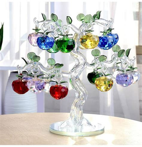 Glass Crystal Apple Tree with 18pcs Apples Fengshui Crafts