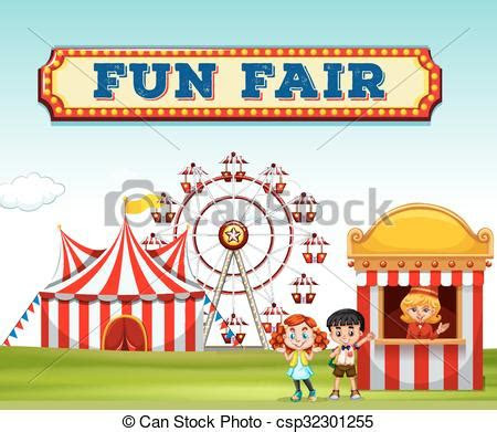 children buying ticket  fun fair illustration