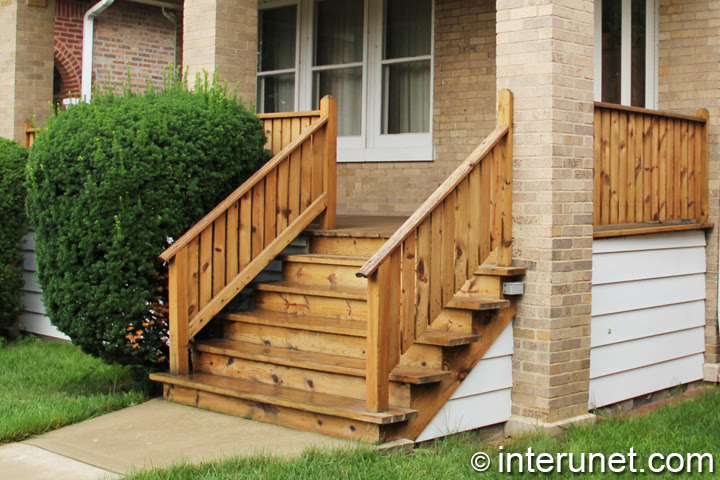simple wood porch with stairs