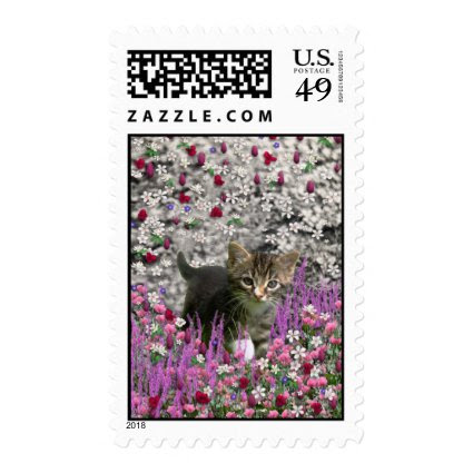 Emma in Flowers I – Little Gray Kitten Postage