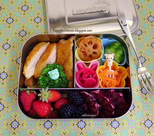 Pan-Seared Chicken in LunchBot Bento by sherimiya ♥
