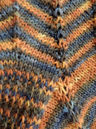 Detail of yarn colors and stitches