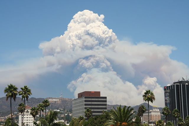 Smoke from the Station fire visible over the Hollywood Hills. (Credit: Sam Humphries / flickr) Click to enlarge.