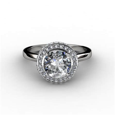 Two Row Pave Halo Diamond Engagement Ring