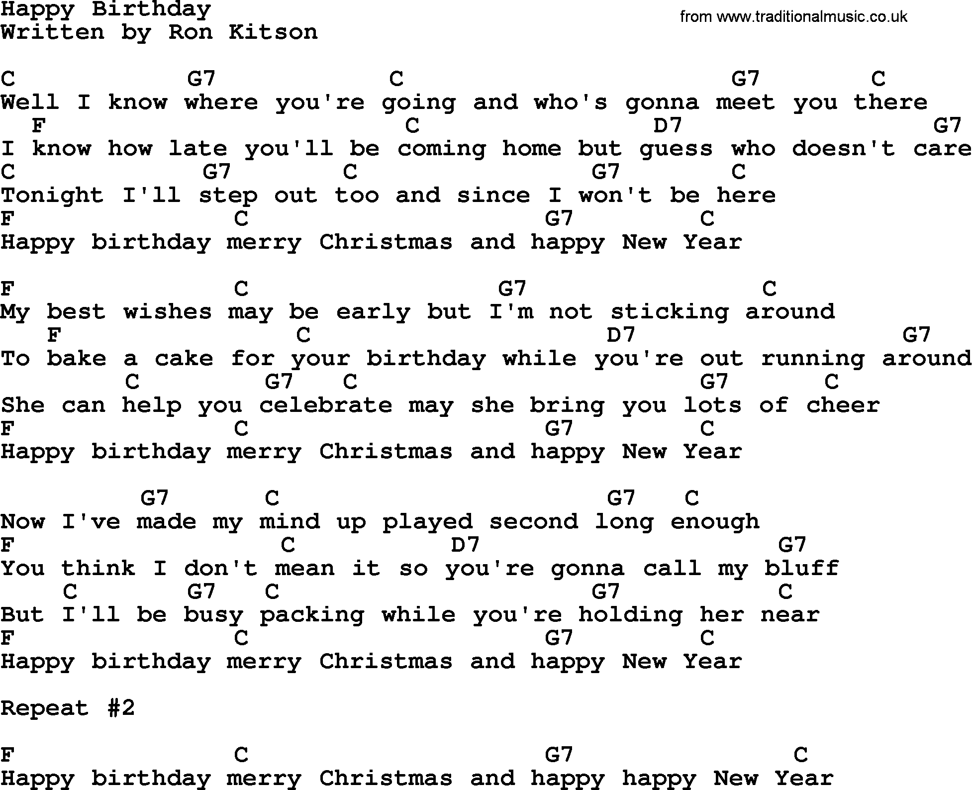Happy Birthday Song With Lyrics And Chords Health Tips Music Cars And Recipe