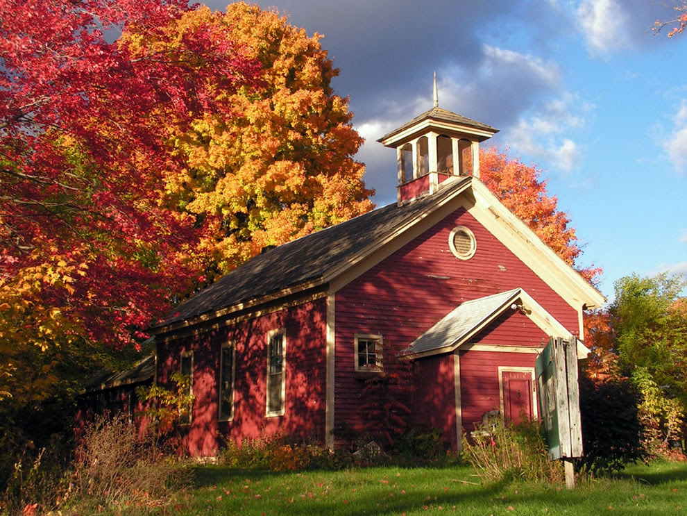 Autumn in Michigan, fall foliage and one-room schoolhouse
