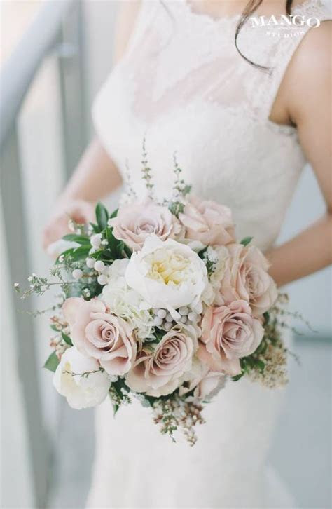 Blush Pink Rose and White Floral Wedding Bouquet   wedding