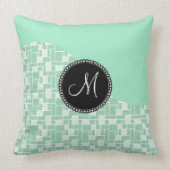 Custom Monogram Initial Mint Green Tile Pattern Throw Pillow