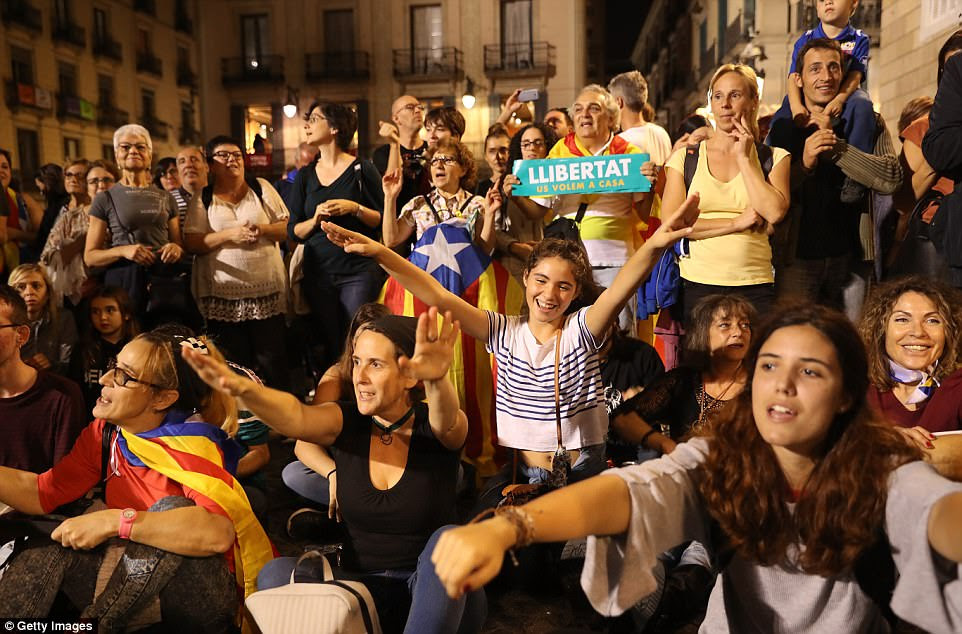 Plans by Spanish Prime Minister Mariano Rajoy to sack the Catalan government and call an election within six months in a bid to thwart a drive by the autonomous region to break away led to angry protests on the streets of Barcelona tonight