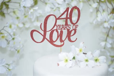 40th wedding anniversary cake topper red cake topper ruby