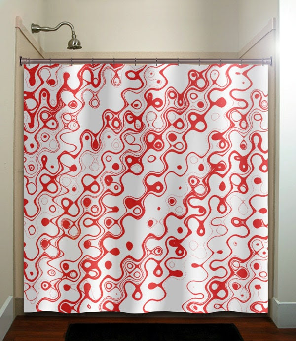 swirls squiggles red shower curtain bathroom by TablishedWorks
