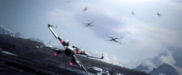 A squadron of Resistance X-Wing fighters fly above Starkiller Base in STAR WARS: THE FORCE AWAKENS.