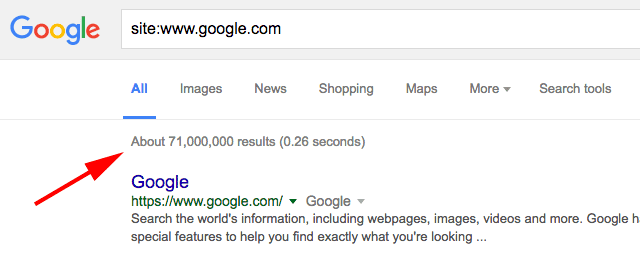 Google test removes the estimated number of search results
