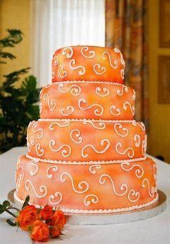 Orange Wedding Cake   Four Tier