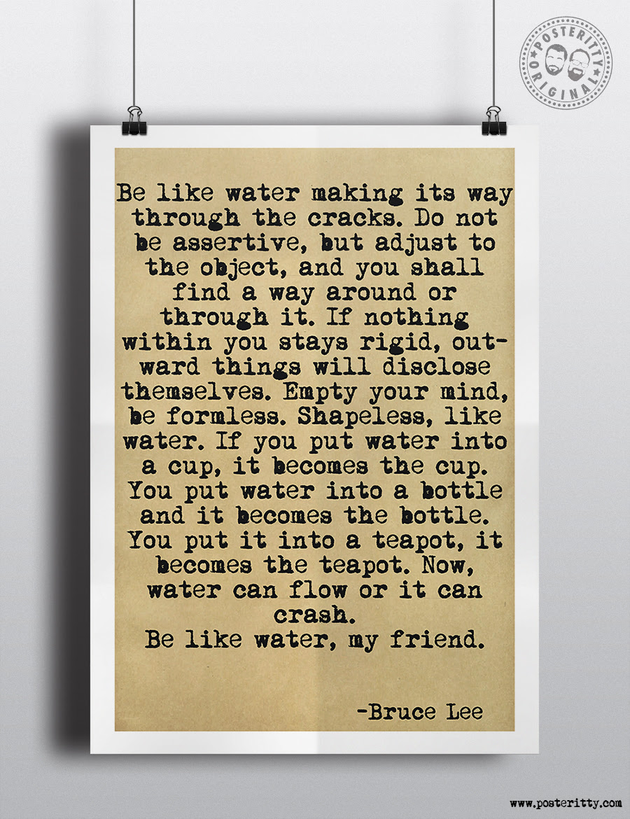 Bruce Lee Be Like Water Quote Poster Posteritty
