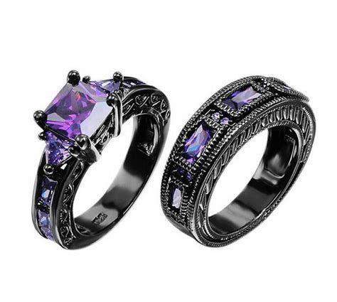 JUNXIN Purple Amethyst Couple Ring Wedding Band Black Gold