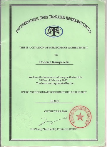Dobricia Kamperelic -Certificate that I was BEST POET in THE WORLD 2004. by jim leftwich