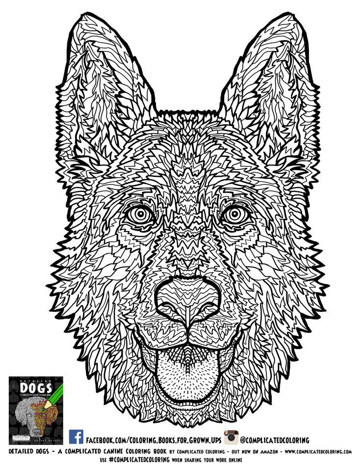 Dogs Coloring Pages Difficult Adult - Coloring Home