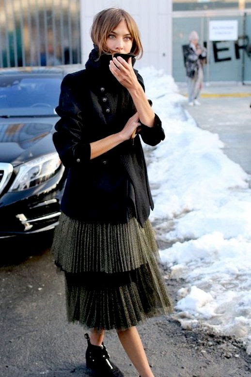 Le Fashion Blog Alexa Chung Street Style New York Fashion Week Blazer Tiered Pleated Skirt Ankle Boots Via Vogue