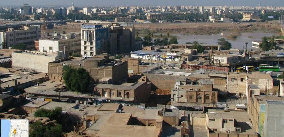 Vista da cidade de Ahvaz em uma imagem tomada em 2009.