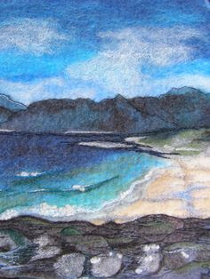 Felted, Picture, Painting, Wallhanging, Textile Art, Felt, Embroidery, Seascape, Free Motion Embroidery.
