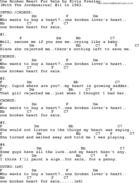 Elvis Presley One Broken Heart For Sale Lyrics