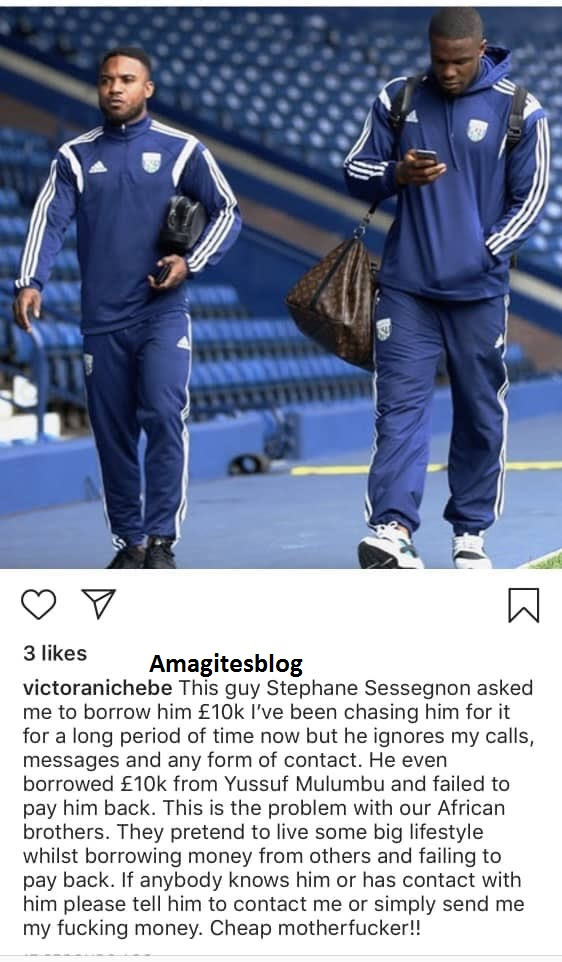 DJ Cuppy's Ex, Victor Anichebe Calls Out Fellow Footballer Owing Him $10k