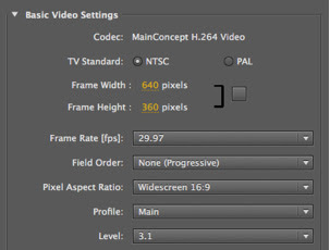 Apple Compressor H.264 Settings