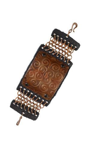 Bracelet with Embossed Metal Sheet, Chainmaille and Leather Scrap