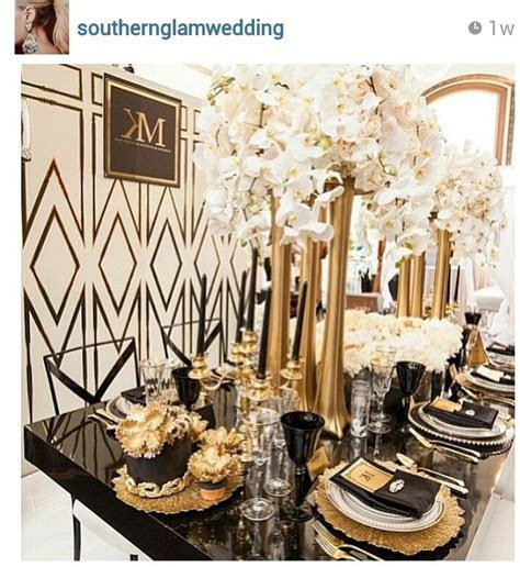 Dramatic Art Deco inspired tablescape with black and gold
