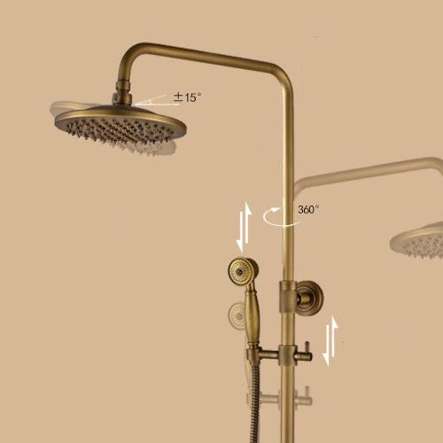 Antique Brass Shower Fixture Bathroom Shower Mixer Shower Head