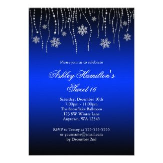 Blue Black Snowflakes Sweet 16 Winter Wonderland Personalized  Invitation