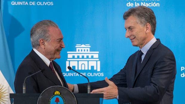 Temer y Macri, ayer, durante la conferencia de prensa conjunta en la quinta presidencial de Olivos