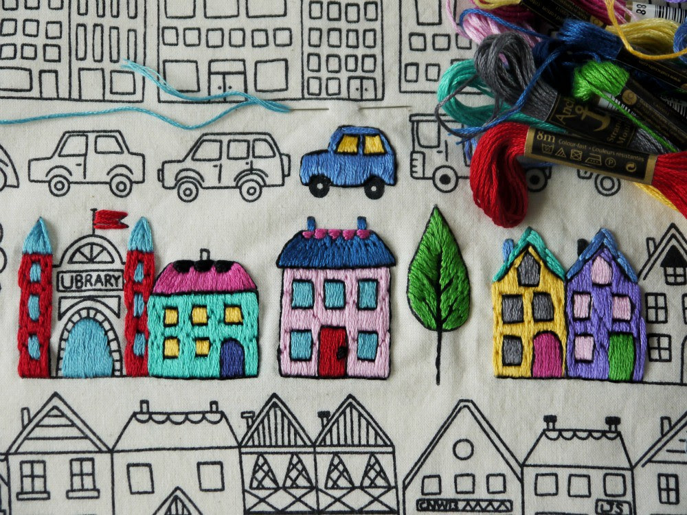 embroidered town