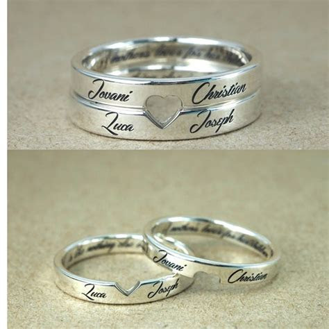 Personalized Stackable Engagement Rings Customized Names