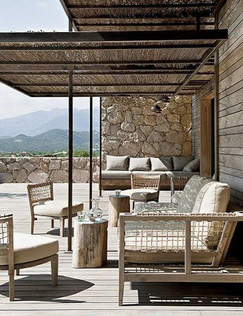 Terraza de La casa de la colina en Córcega