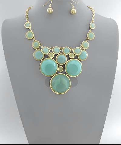 Mint Color Jewelry!! Mint Bubble Necklace!