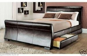 4 DRAWERS LEATHER STORAGE SLEIGH BED DOUBLE OR KING SIZE ...