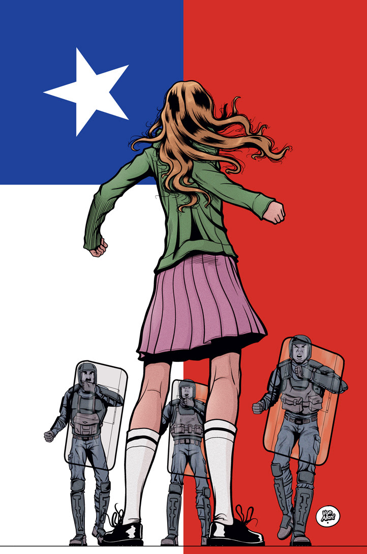 Pinup in support of the 2019 Chilean protests by Von Allan