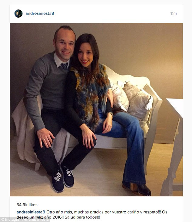 Barcelona legend Andres Iniesta and his wife Anna looked to be enjoying a quiet New Year's at home
